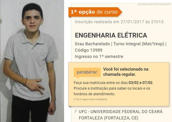 Estudante que teve a maior nota de seu município é aprovado em Engenharia Elétrica na UFC
