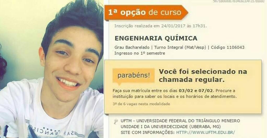 Jovem do interior de São Paulo é aprovado em Química na USP, Unesp e na UFTM