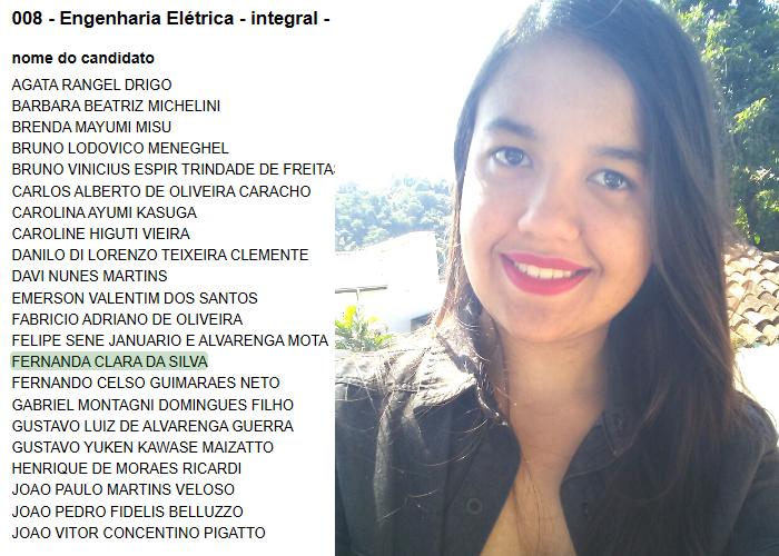 Fernanda Clara da Silva passa em Engenharia Elétrica na Unesp com nota máxima na redação