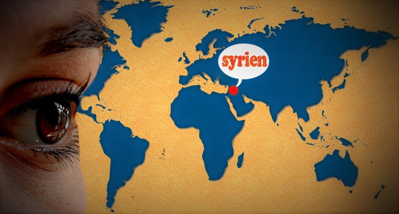 Olhando mapa Mundi Síria
