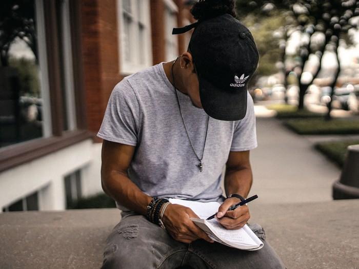 Estudante, caderno, jovem