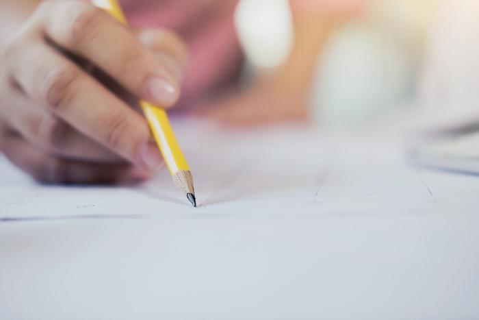 Escrevendo, folha, redação